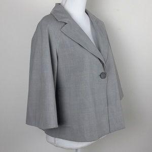 Liz Claiborne Gray Glen Plaid Short Swing Jacket